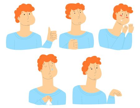 Vector flat illustration with set of male faces. Everyone has different emotions, namely support, approval, anger, shyness, sadness, boredom. You can use it in web design, postcards, banners, etc. Vettoriali