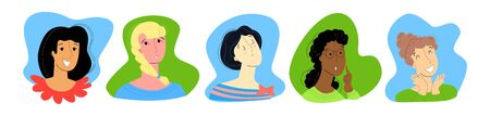 Vector flat illustration with set of women s faces. Everyone has different emotions, namely joy, boredom, resentment, thoughtfulness, and fun. You can use it in web design, postcards, banners, etc. Ilustrace