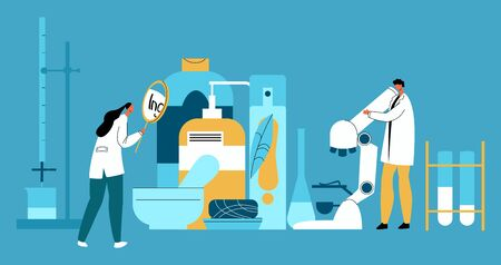 Vector flat illustration with enlarged hygiene products and laboratory technicians who examine their composition. Concept expertise, quality control, research composition of household products. 일러스트