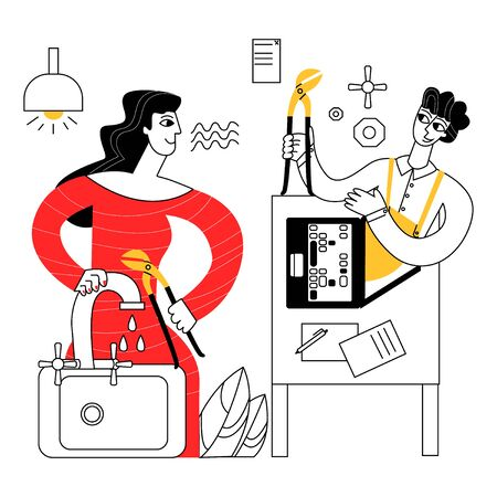 Vector flat abstract illustration of woman trying to fix faucet by consulting locksmith