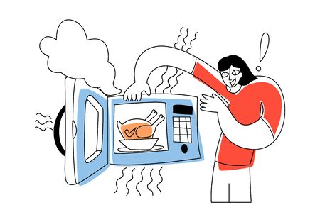 Vector flat illustration young happy man who takes ready made chicken out of microwave. Concept cooking with microwave.