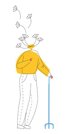 Vector flat illustration metaphor abstract elderly man in form of dandelion with flying seeds. Concept memory loss, cognitive impairment, Alzheimer s dementia. Lines and color are used.