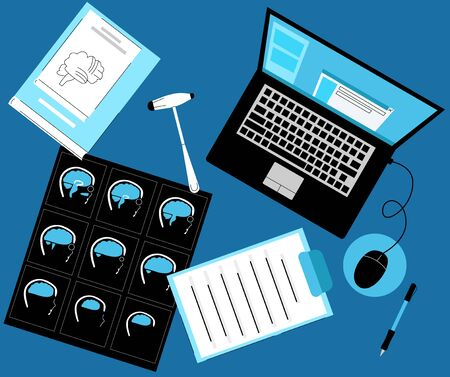 Vector flat illustration neurologist s Desk, workplace, top view. Here is film, MRI scan, medical books on neurology, hammer, laptop with electronic chart of patient, documents.