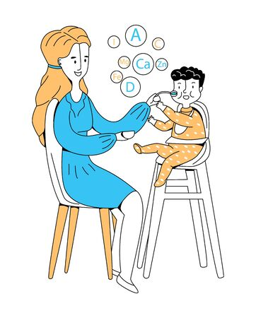 Vector flat illustration woman who is feeding her small child with spoon. Top shows microelements and vitamins that are necessary for baby. Concept proper introduction of complementary foods.