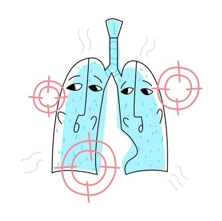 Vector flat illustration with lungs that are under gun. They are afraid and worried.