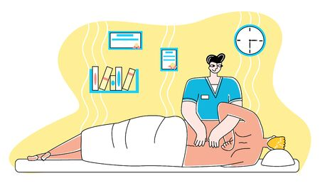 Vector flat illustration of osteopathic, chiropractor treating patient in his office. Vectores