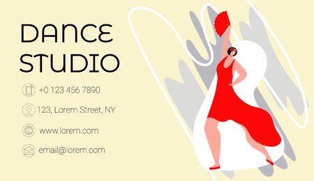 Vector flat illustration template, business card layout for dance Studio, school, or club. There is place for contact information. It shows woman dancing tango. Size standard 90x50.
