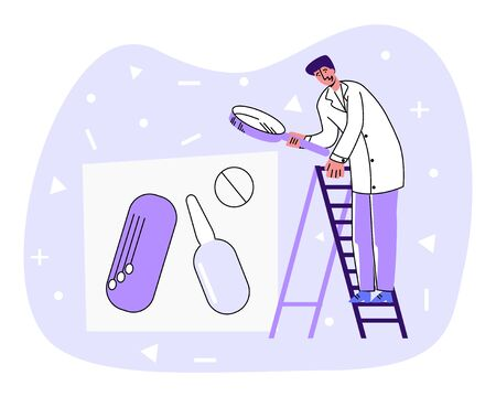 Vector flat doctor looking at abstract medicines.  イラスト・ベクター素材