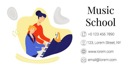 Vector flat business card of music school