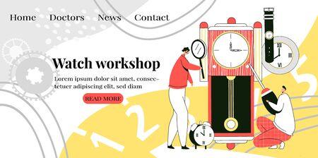 Vector flat landing page of watch repair workshop Stockfoto - 148976624