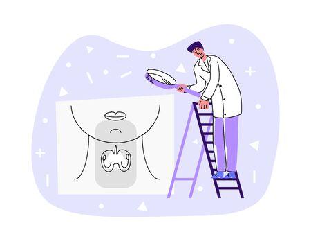 Vector doctor lookingat abstract a thyroid gland. Ilustração Vetorial