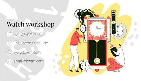Vector template, business card layout for repair and restoration of watches. Watchmakers who work with old, modern watches are shown. It can be used at size 90x50. Stockfoto - 148976628
