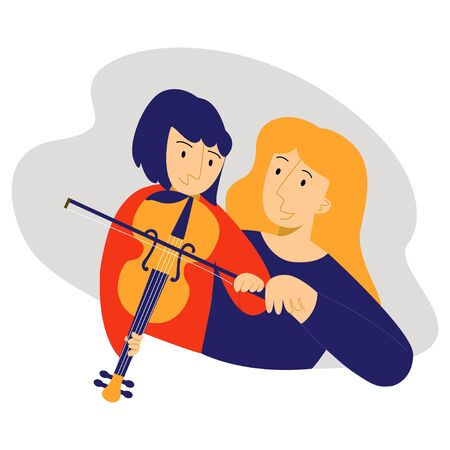 Vector teenager who plays violin with teacher. Ilustrace