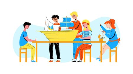 Vector flat children who are engaged in creativity