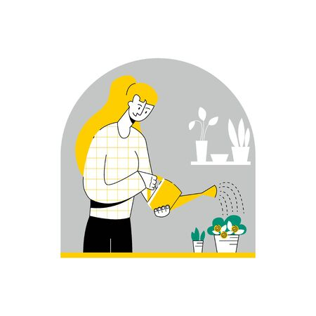 Vector young woman who waters household plants.