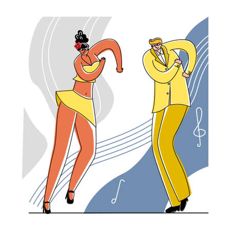 Vector flat dancing couple on abstract background. Çizim