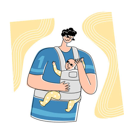 Vector illustration happy single father with baby.