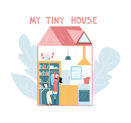 Vector flat illustration tiny, compact house, its interior with resident. Woman is working on laptop. You can use it in banners, posters, landing pages, web design, etc.  イラスト・ベクター素材