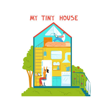 Vector flat illustration young family that lives in tiny house. They work remotely on laptop, reading. There is image part of interior. It can be used in web design, banners, etc.