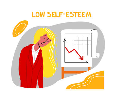 Vector flat illustration young woman with reduced self confidence, low self esteem. Concept symptoms of depression, apathy. You can use it in landing pages, banners, etc.