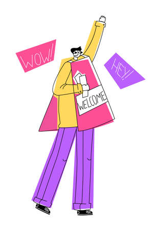 Vector flat illustration promoter with sign that shows ad about opening store. He is holding leaflets in his hand. Concept of advertising and attracting customers, buyers, visitors.