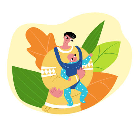 Vector flat illustration happy single father with baby in children carrier. Abstract plant background. Concept fatherhood, child care, and slings. Can be used in father s day cards, landing pages, etc Ilustración de vector