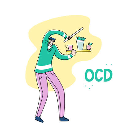 Vector young man who measures distance between objects on shelf and places them symmetrically. Concept obsessive compulsive disorder, madness, rhypophobia, pedantry, misophobia, germophobia, neurosis.