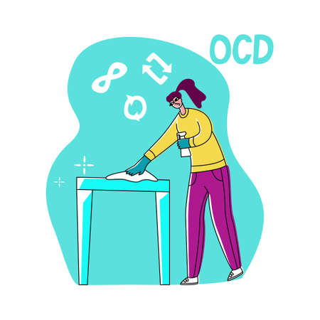 Vector flat illustration young woman who is cleaning, wiping table. Symbols for repeat and infinity are shown on top. Concept obsessive compulsive disorder or OCD. Illusztráció