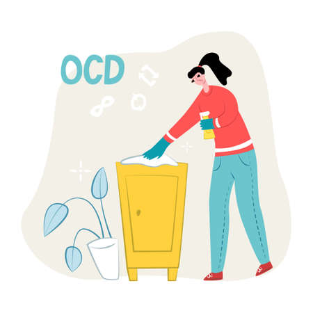 Vector flat illustration young woman who is cleaning, wiping bedside table. Symbols for repeat and infinity are shown on top. Concept obsessive compulsive disorder or OCD.