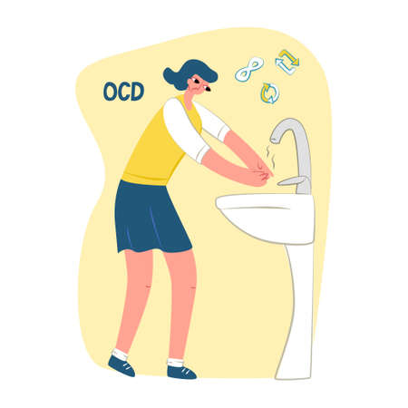 Vector flat illustration young woman washing her hands. Symbols repetition and infinity are shown on top. Concept obsessive-compulsive disorder or OCD, mental illness.Square format.