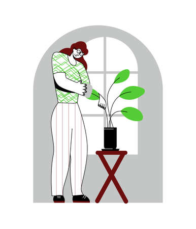 Vector flat illustration young woman who wipes leaves off. Concept gardening, care of home plants. You can use it in web design, banners, landing pages, postcards, etc. 일러스트