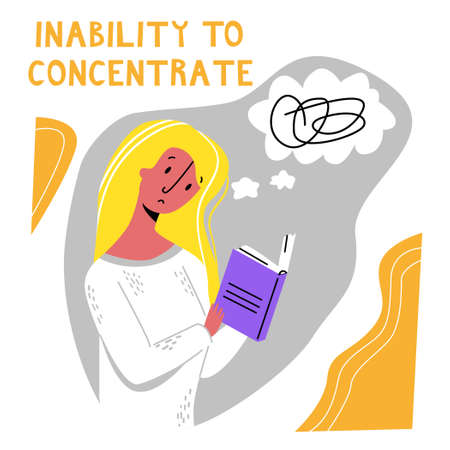 Vector flat young woman who can not concentrate on reading book, different thoughts are spinning in her head. Concept inability concentration, distraction, lack of focus, fatigue. Square format.