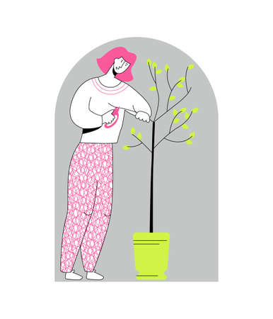 Vector flat illustration young woman cutting branches off tree with pruner. Concept gardening, care of domestic plants. You can use it in web design, banners, landing pages, postcards, etc.