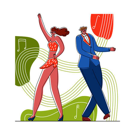 danceVector flat illustration dancing couple on abstract background