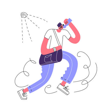 Vector flat illustration running man in hot Sunny weather. He drinks water from bottle. Concept quenching thirst, prevention of sun and heat stroke. It can be used in web design, banners, etc. Ilustración de vector