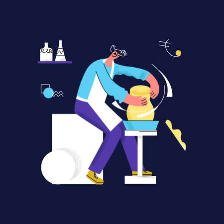 Vector flat illustration with male potter who makes pitcher, vase. Concept of Handicrafts, pottery, handwork, production, craft, handmade. It can be used in web design, banners, advertising, etc Ilustração