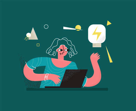 Vector illustration woman who works online on laptop. She has light bulb in her hand as symbol of idea, discovery, inspiration. There is abstract background. It can be used in web design, banners, etc
