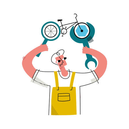 Vector flat illustration with happy worker who fixes Bicycle using abstract wrench, performs diagnostics through magnifying glass. Concept repairing bicycles and other means of transportation. 일러스트