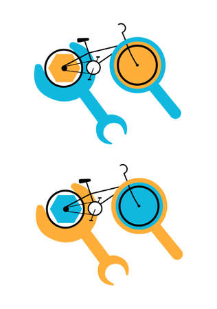 Vector flat illustration abstract Bicycle repair logo. It shows Bicycle with magnifying glass and wrench, which means repair and diagnostics, respectively. It can be used in banners, posters, etc. 矢量图像