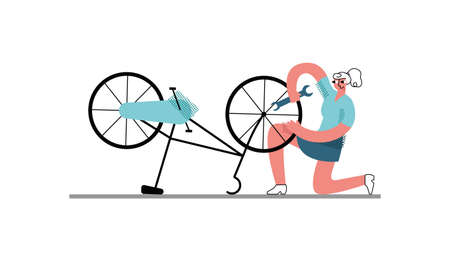 Vector flat illustration of young woman repairing Bicycle on her own. It can be used in web design, banners, posters, etc. 矢量图像