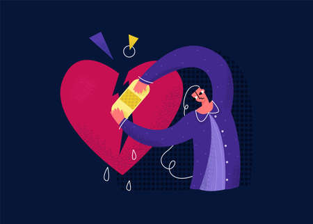 Vector flat abstract young woman who is going through relationship breakup in form of broken heart. She uses plaster to glue two halves together. Concept working on relationships, psychological help.