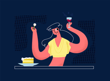 Vector flat drunk, cheerful woman in bar at table. She eats cake, drinks wine from glass. Concept entertainment, recreation, celebration, alcohol intake. It can be used in web design, banners, etc.