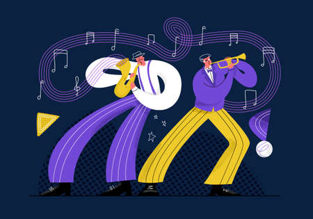 Vector flat illustration with jazz performers performing at concert. Two men play trumpet and saxophone. Musical instruments are represented abstractly as notes. Concept entertainment, art, recreation