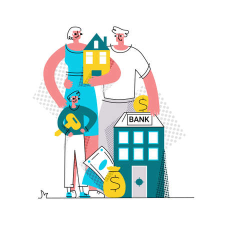 Vector flat abstract illustration of family who bought house with mortgage. At bottom is Bank where man puts coin. Concept of buying home, house, apartment, mortgage, loan, etc.
