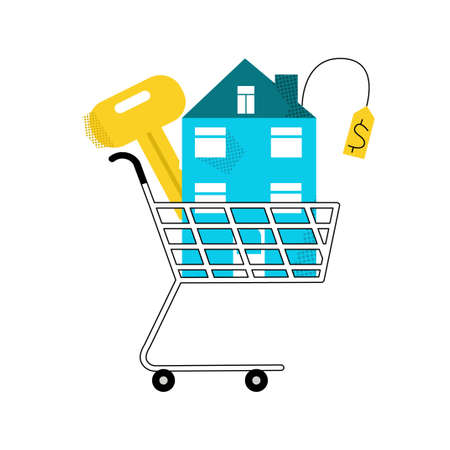 Vector flat isolated illustration with purchased abstract house, key in grocery cart. Vector Illustration