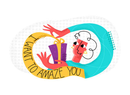 Vector flat illustration with isolated lettering of words, I want to amaze you, and image of happy woman who opens gift. Concept celebration, birthday, practical jokes, jokes, greetings, new year. Ilustração