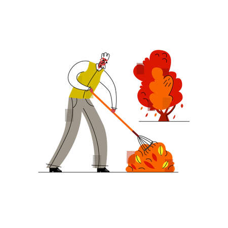 Vector flat illustration with a man who removes autumn leaves. Concept of garden care. It can be used in web design, printing products, etc.