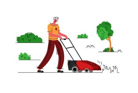 Vector flat illustration man who levels lawn with lawn mower. Mow grass. Concept care for garden plot, garden works and equipment. It can be used in web design, banners, etc.