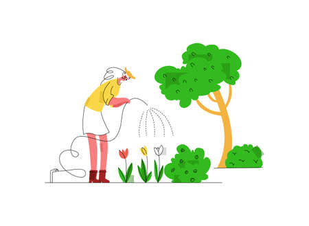 Vector flat illustration with woman who uses hose to water flowers in backyard. The concept of landscaping, growing flowers, and gardening. It can be used in web design, banners, etc.