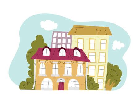 Vector architectural structures, houses. Vektorgrafik